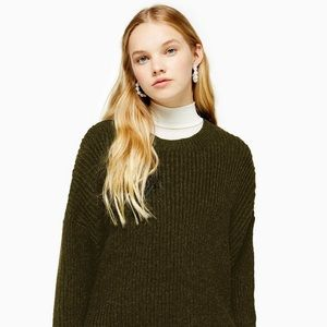 NWT Topshop khaki crew neck sweater, size medium